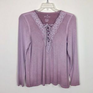 American Eagle Lace On Lace Trim Long Sleeve